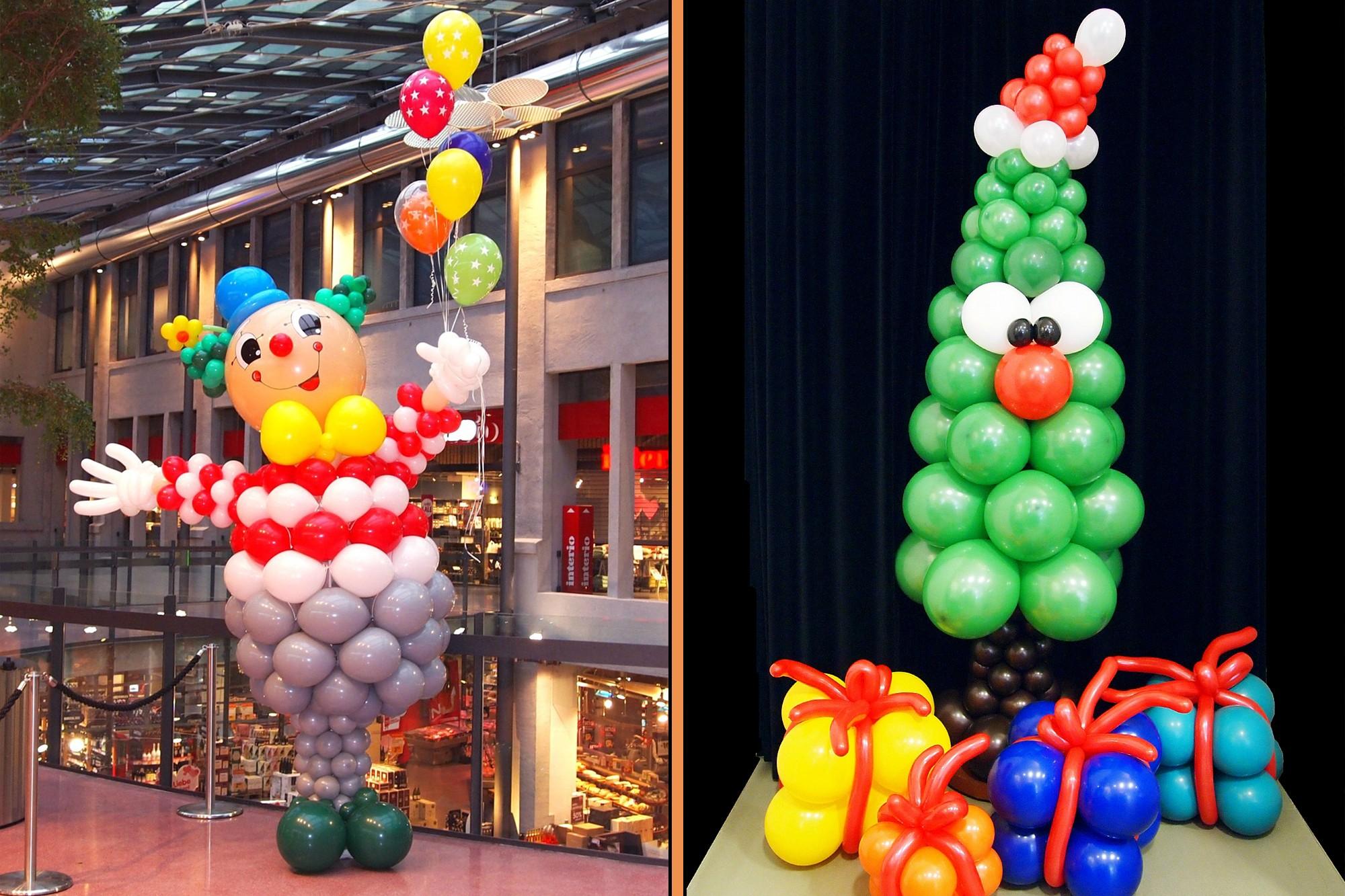 Ballonskulptur Clown in einem Einkaufzentrum