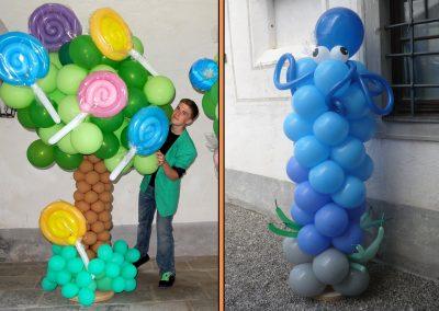 Ballonskulptur Baum mit Schlecker und Octopus Statue