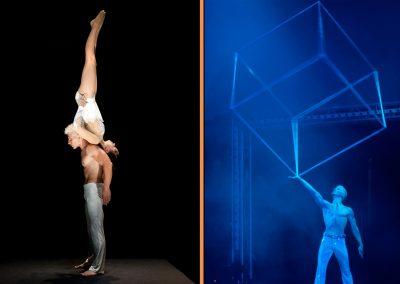 Partnerakrobatik Show und Würfel Show