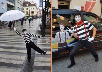 Pantomime Künstler erheitern das Publikum bzw. ihre Gäste auf ihre ganz besondere Art