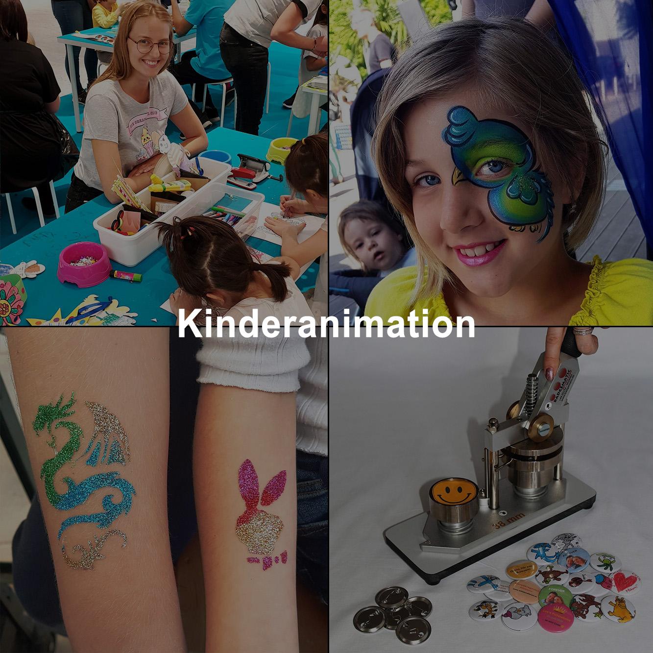 Basteln, Buttonmaschine, Glitzertattos und Kinderschminken