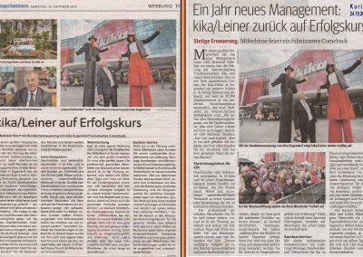 Zeitungsauschnitt in im Kurier und in den Salzburger Nachrichten im Oktober 2019