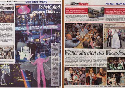 Zeitungsauschnitt in der Kronenzeitung und Wien Heute 2012